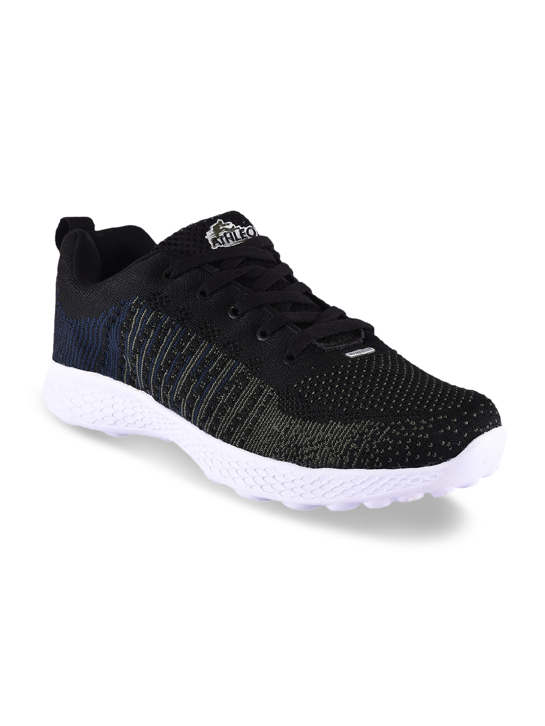 Black Synthetic Running Shoes