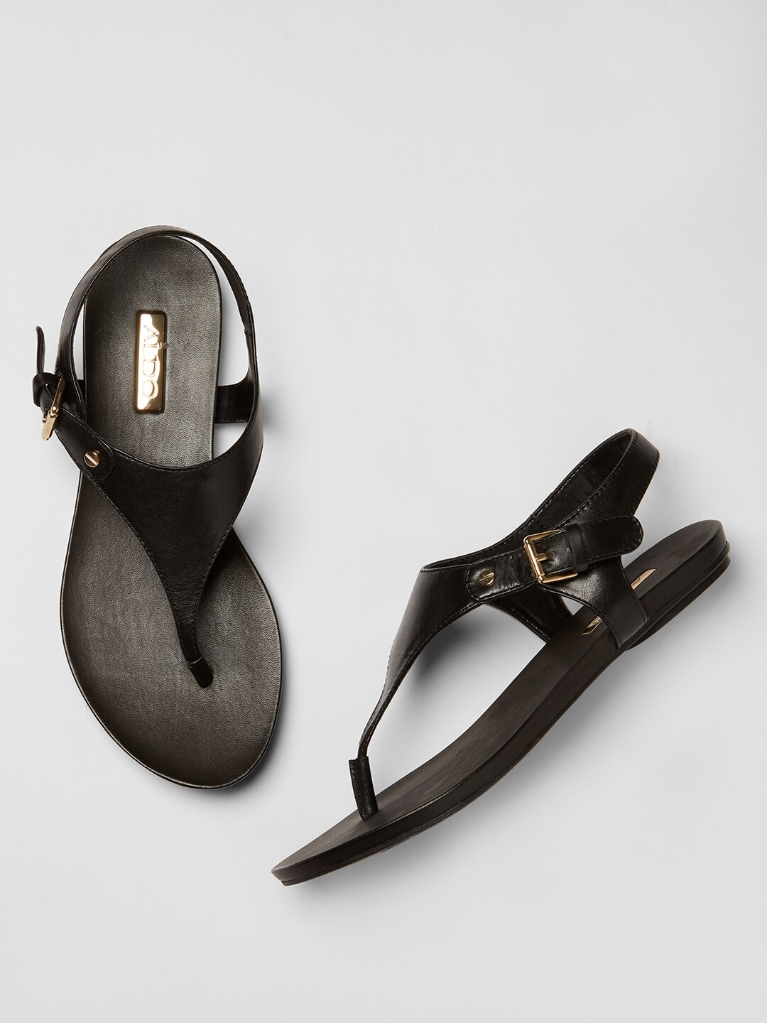 Black Solid Leather Open Toe Flats