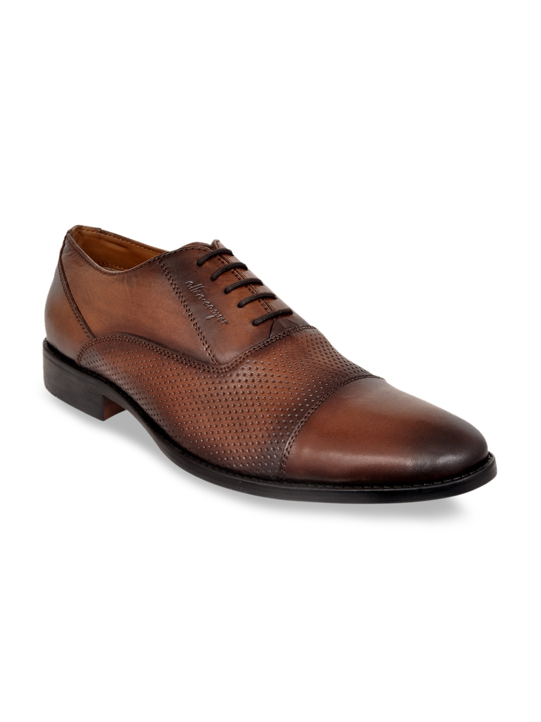 Brown Textured Genuine Leather Formal Oxfords