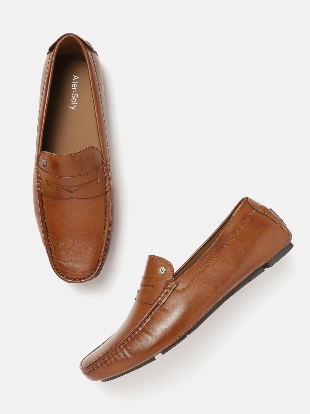 Brown Solid Driving Shoes