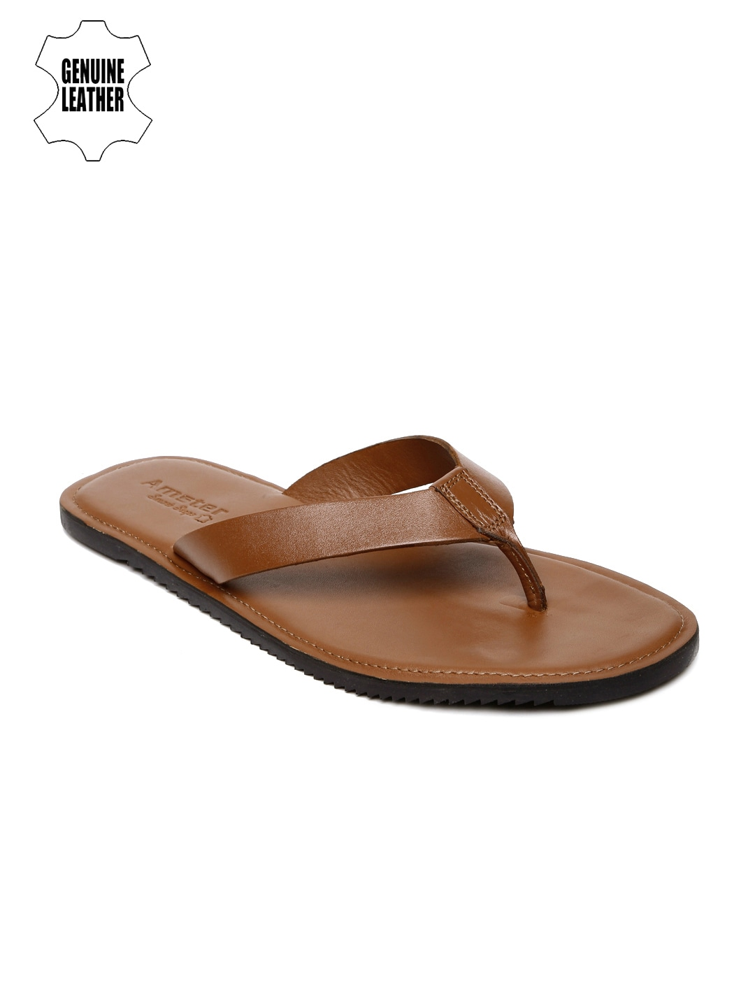 Tan Brown Genuine Leather Sandals