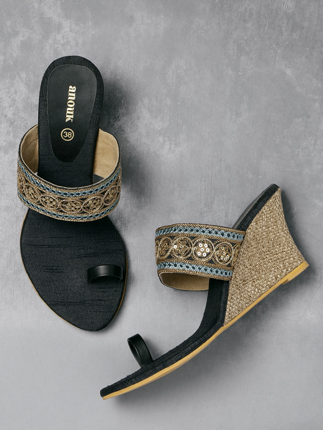 Black & Gold-Toned Embroidered Wedges