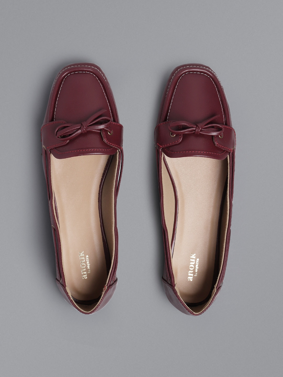 Burgundy Solid Loafers