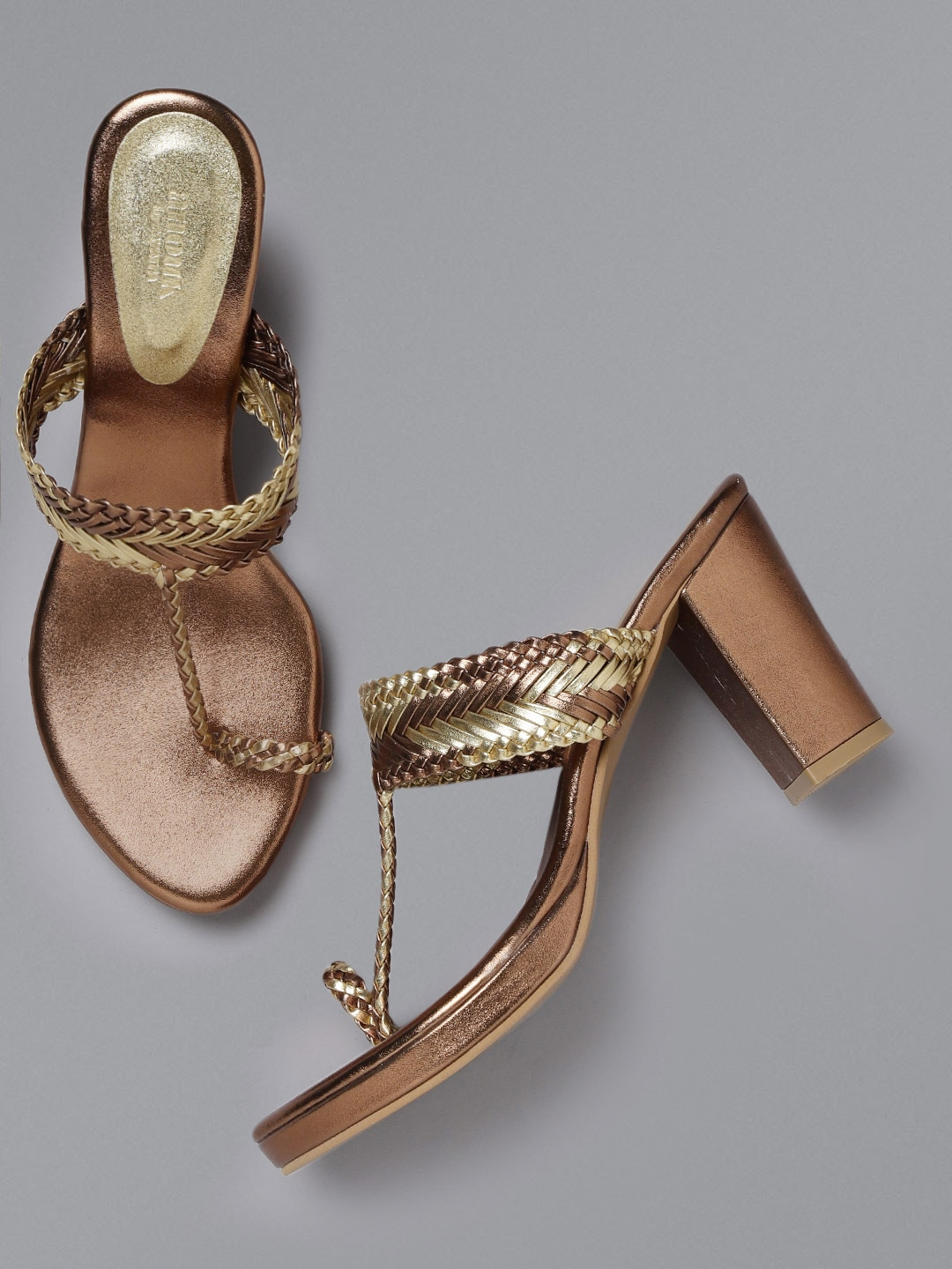 Gold-Toned Braided One Toe Heels