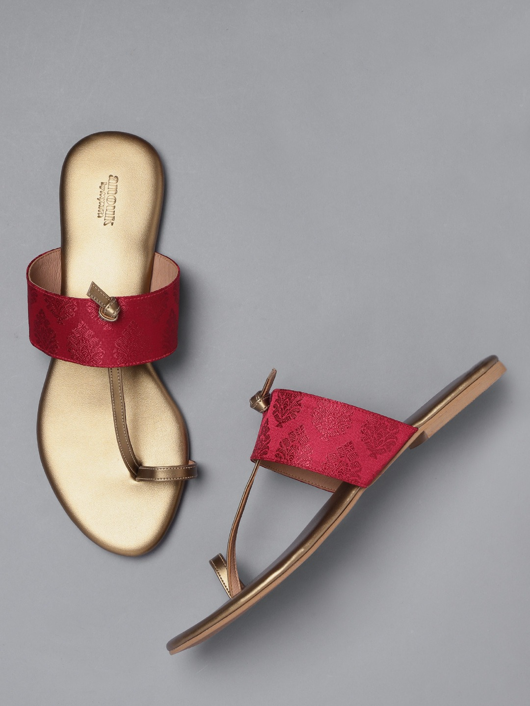 Maroon & Gold-Toned Woven Design One Toe Flats