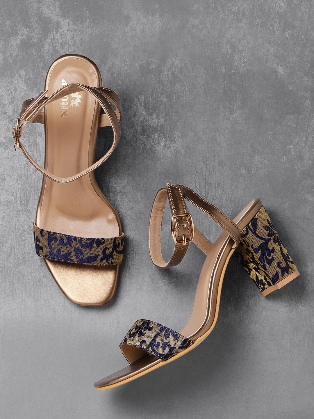 Navy & Gold-Toned Woven Design Sandals