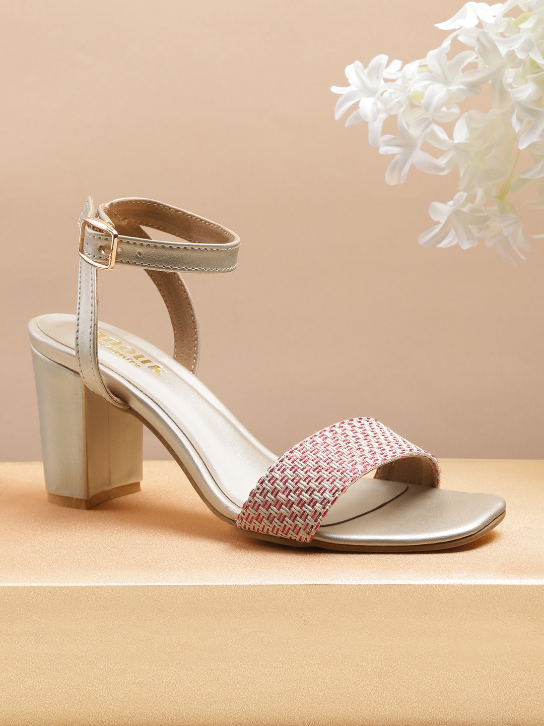 Red & Cream-Coloured Woven Design Heels