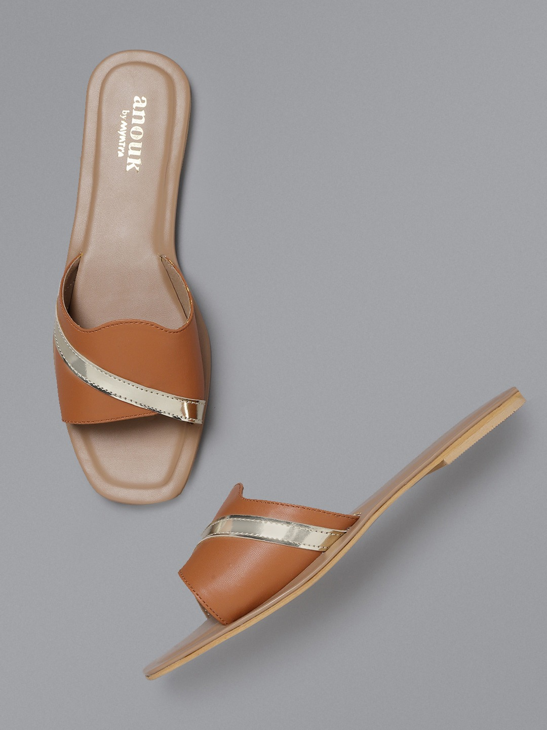 Tan Brown & Gold-Toned Solid Open Toe Flats