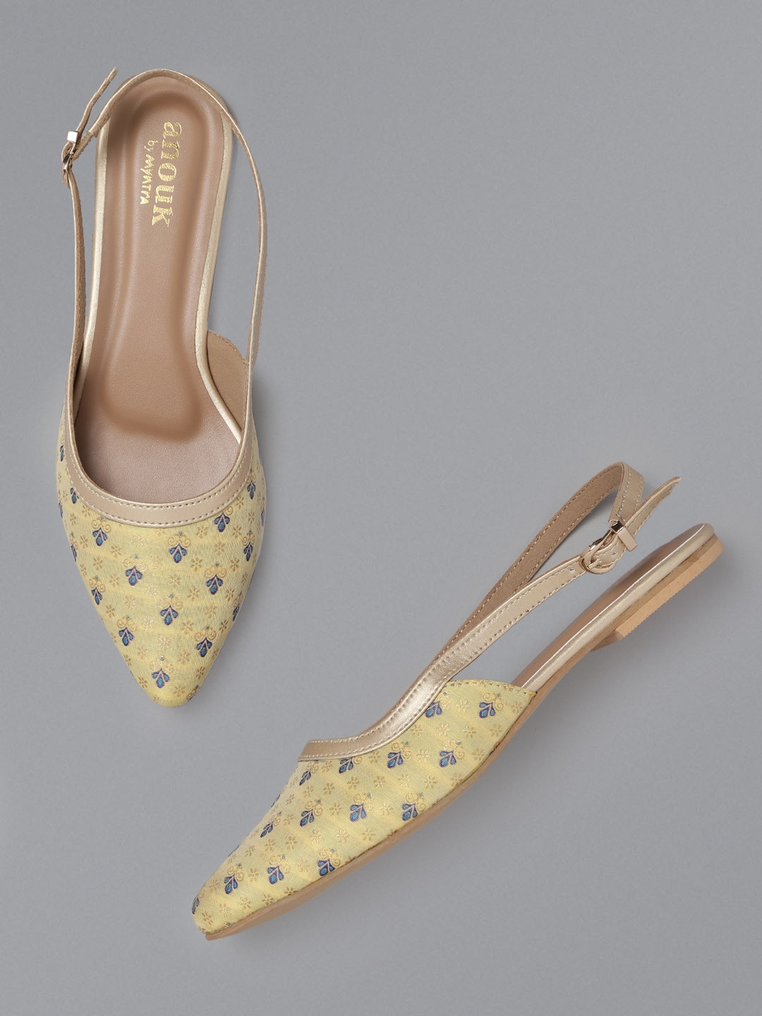 Yellow & Blue Embroidered Flats