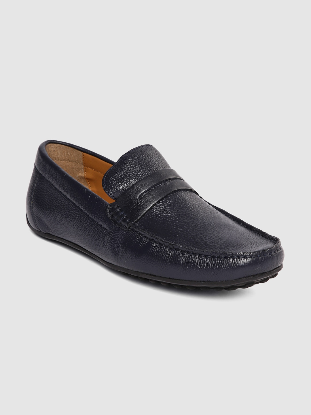Navy Blue Solid Felton Leather Loafers