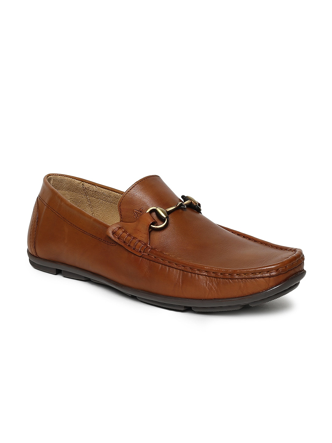 Tan Solid Leather Loafers