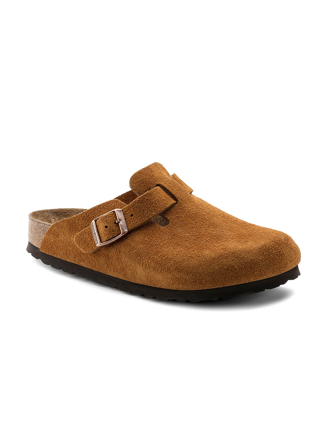 Tan Brown Boston Suede Leather  Comfort Sandals