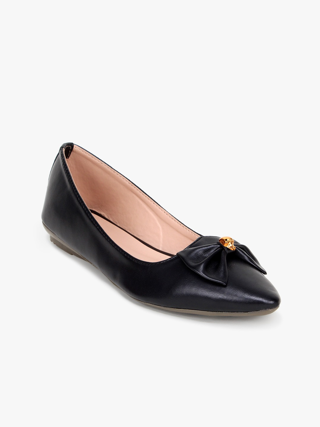 Black Solid Bow Detail Ballerinas