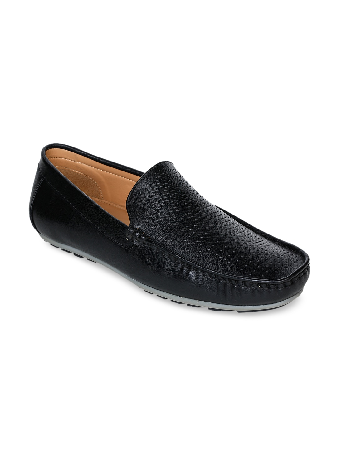 Black Perforations Leather Loafers