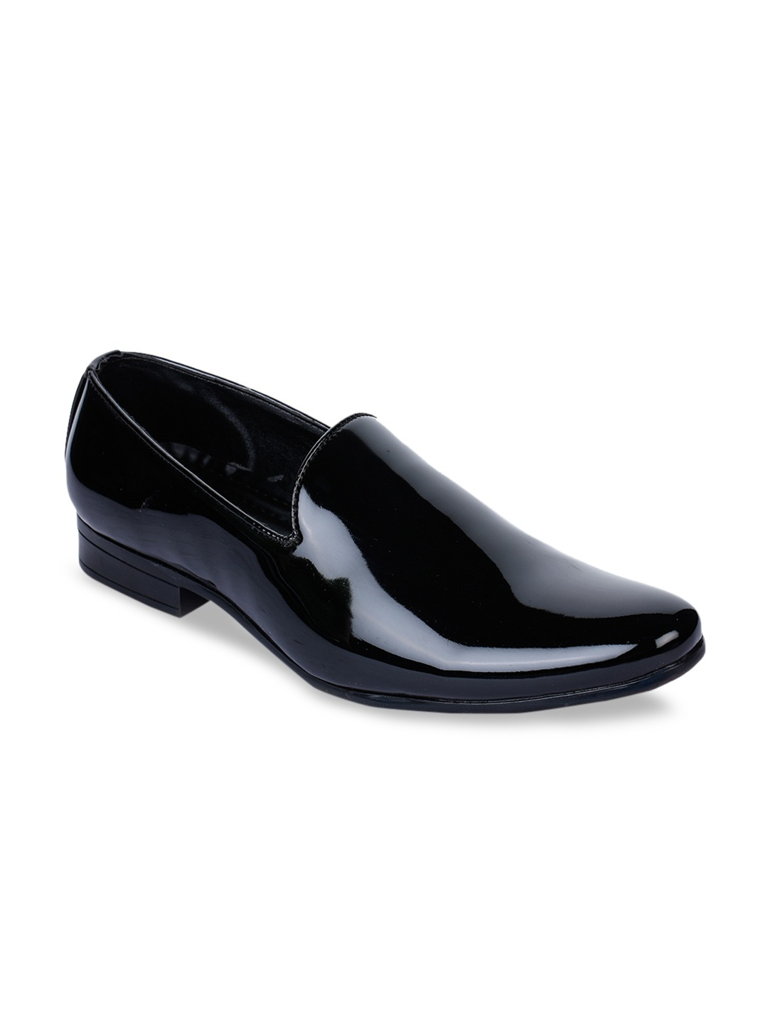 Black Solid Patent Leather Formal Slip-Ons
