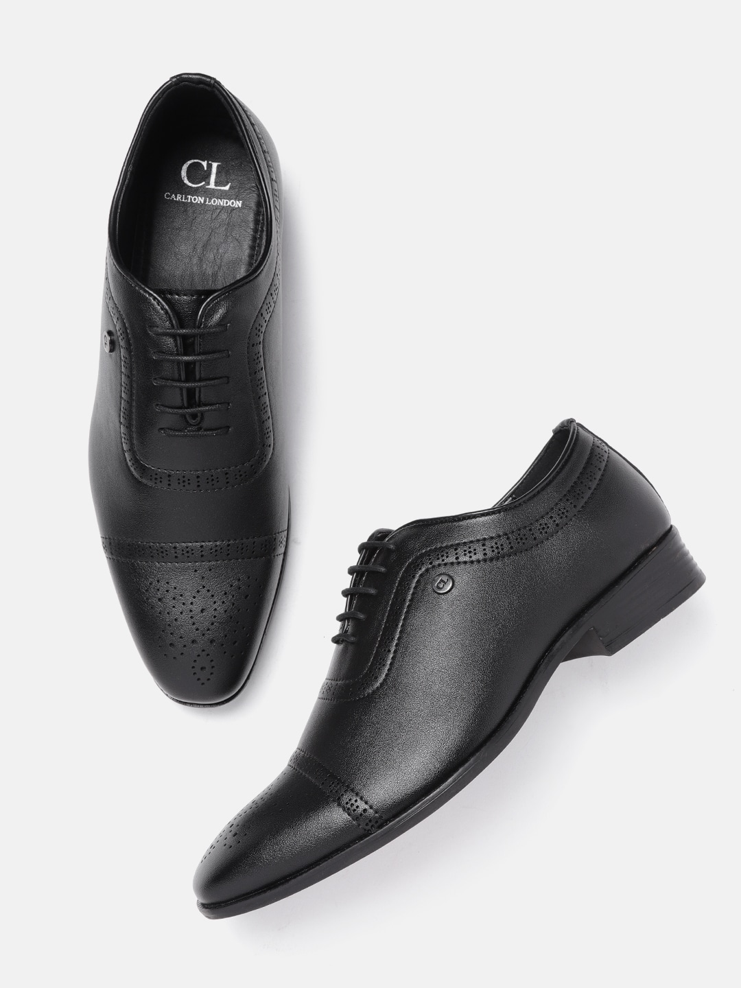 Black Perforated Formal Oxfords
