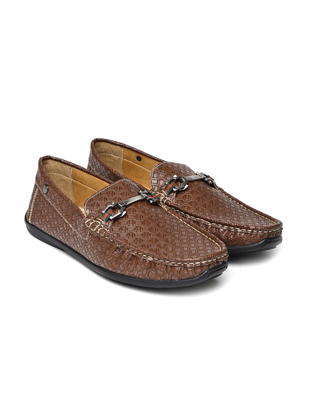 Brown Textured Loafers