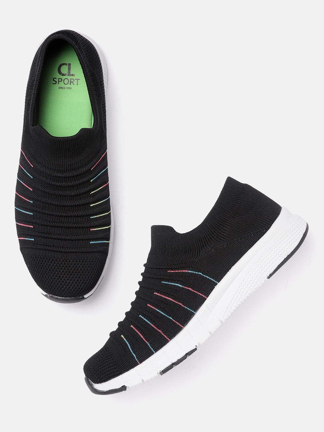 Black Self Striped Running Shoes