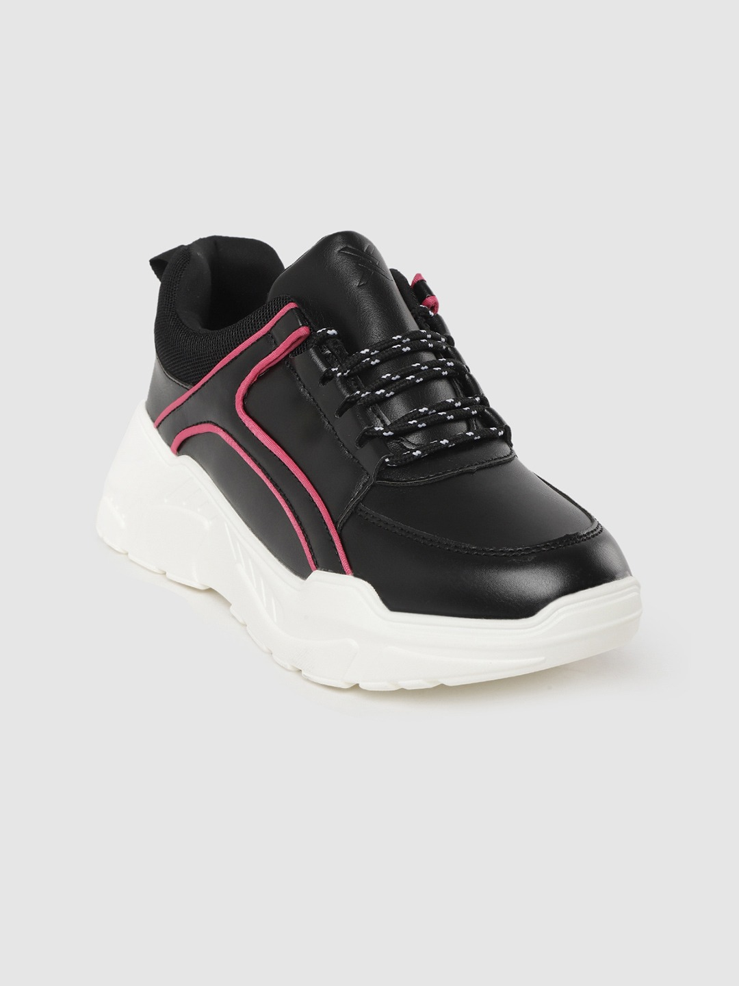 Black Solid Running Shoes
