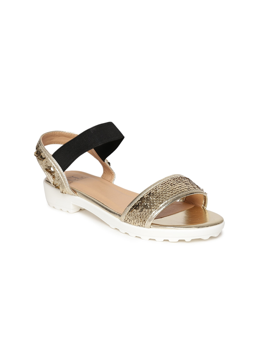 Gold-Toned Sequinned Flats