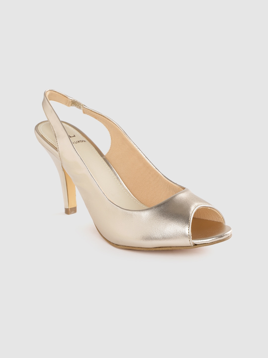 Gold-Toned Solid Peep Toes