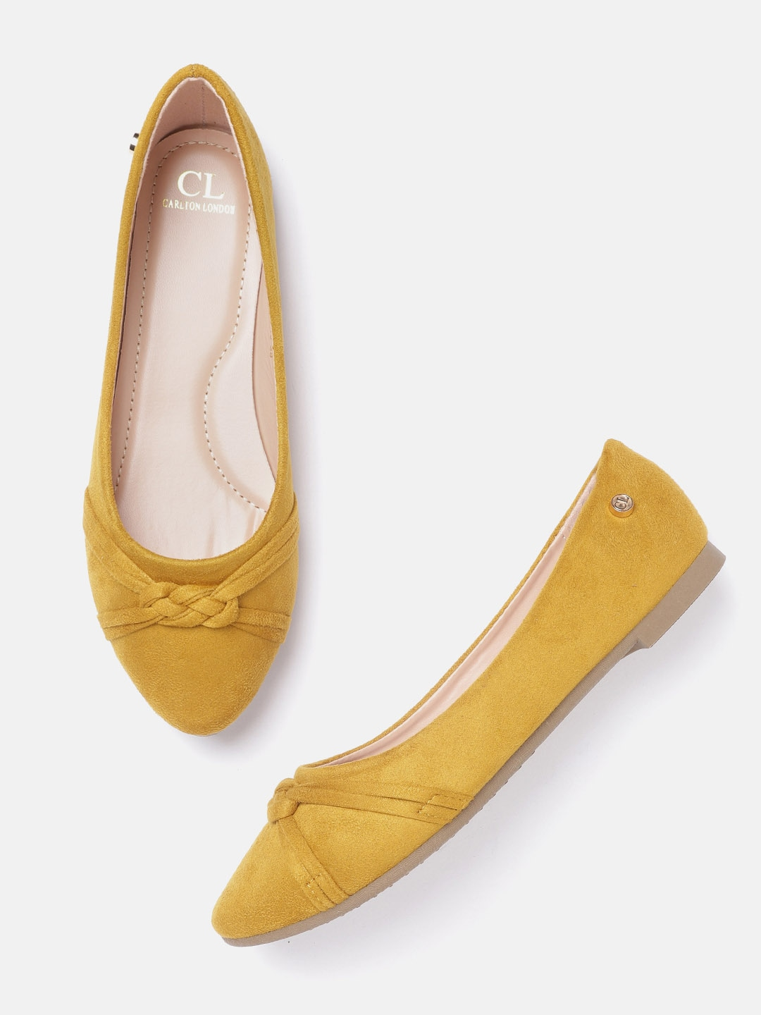 Mustard Yellow Suede Finish Solid Ballerinas
