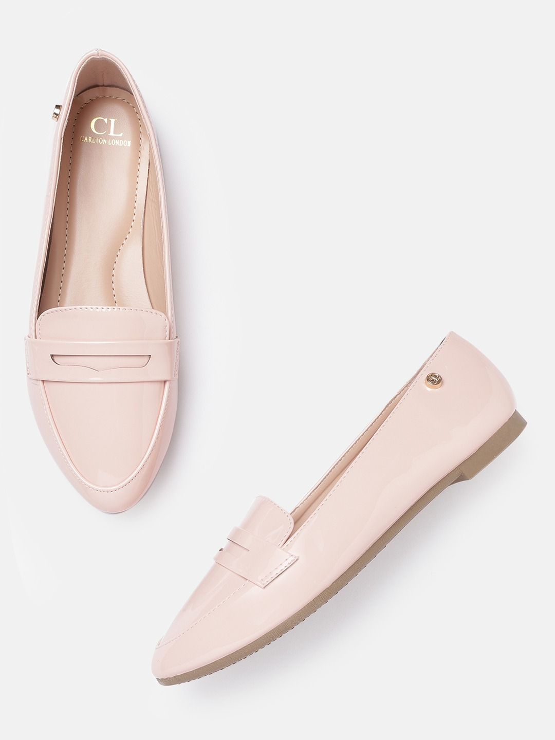 Pink Solid Penny Loafers