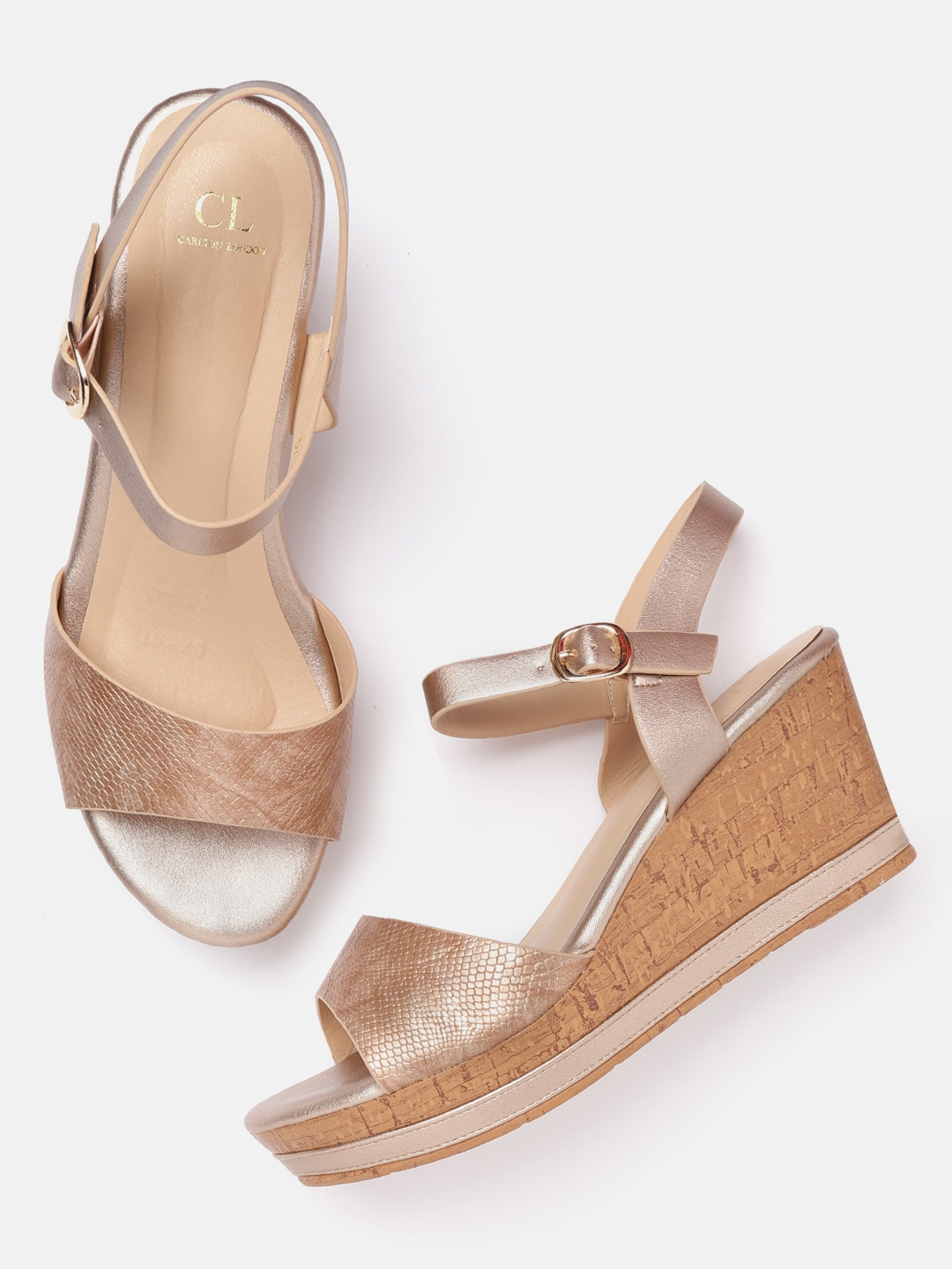 Rose Gold-Toned Snakeskin Textured Wedges