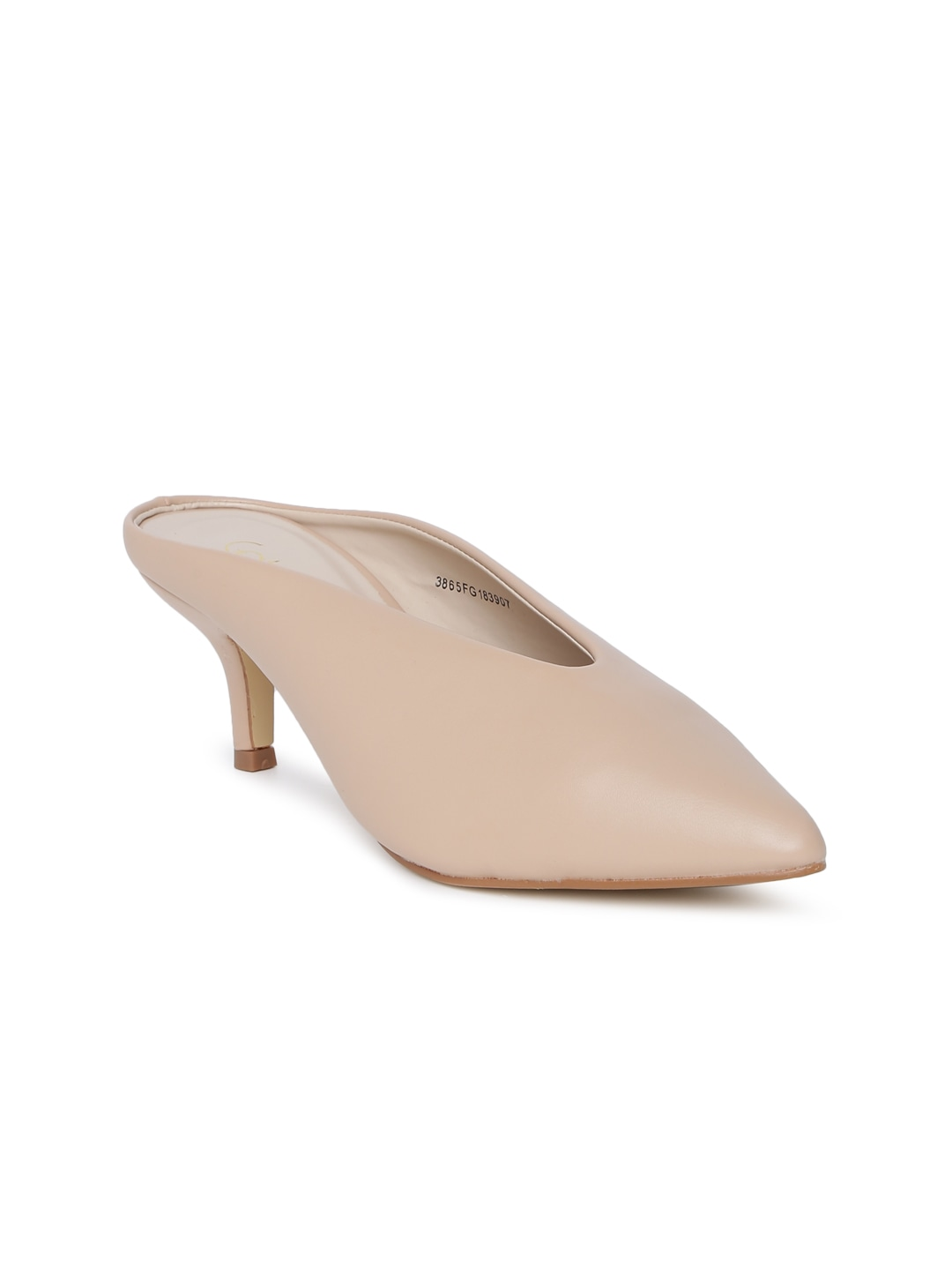 Beige Solid Mules