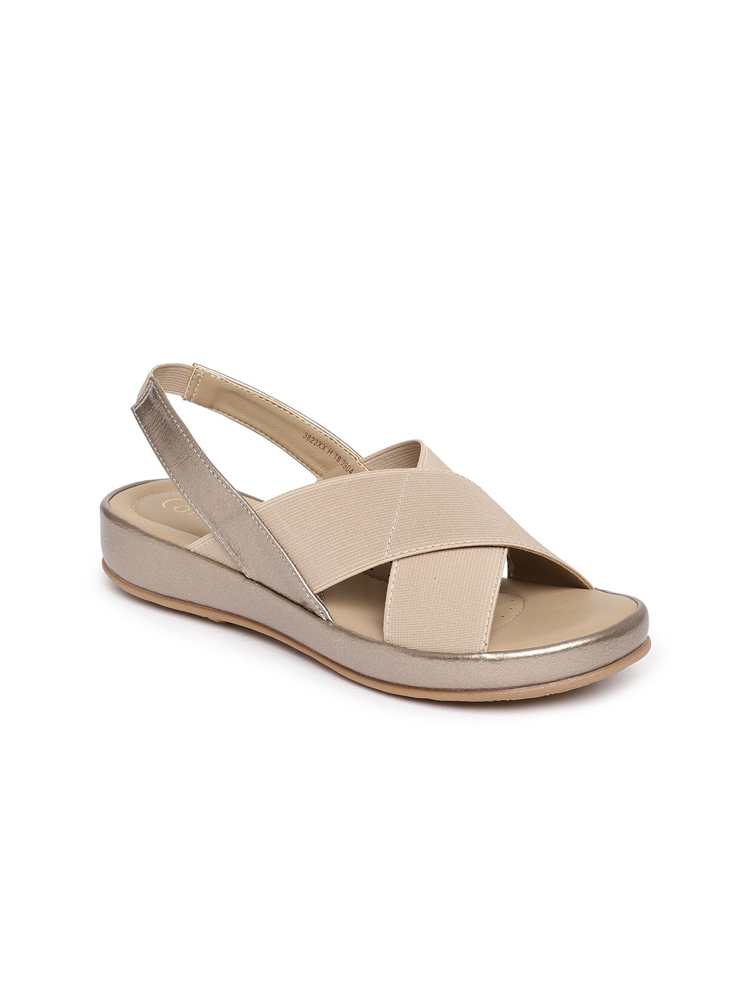 Beige Solid Synthetic Open Toe Flats