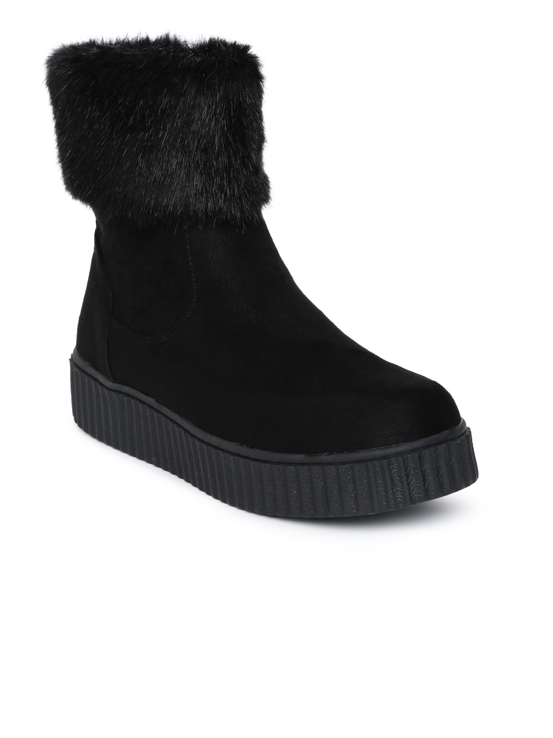 Black Solid High-Top Flat Boots
