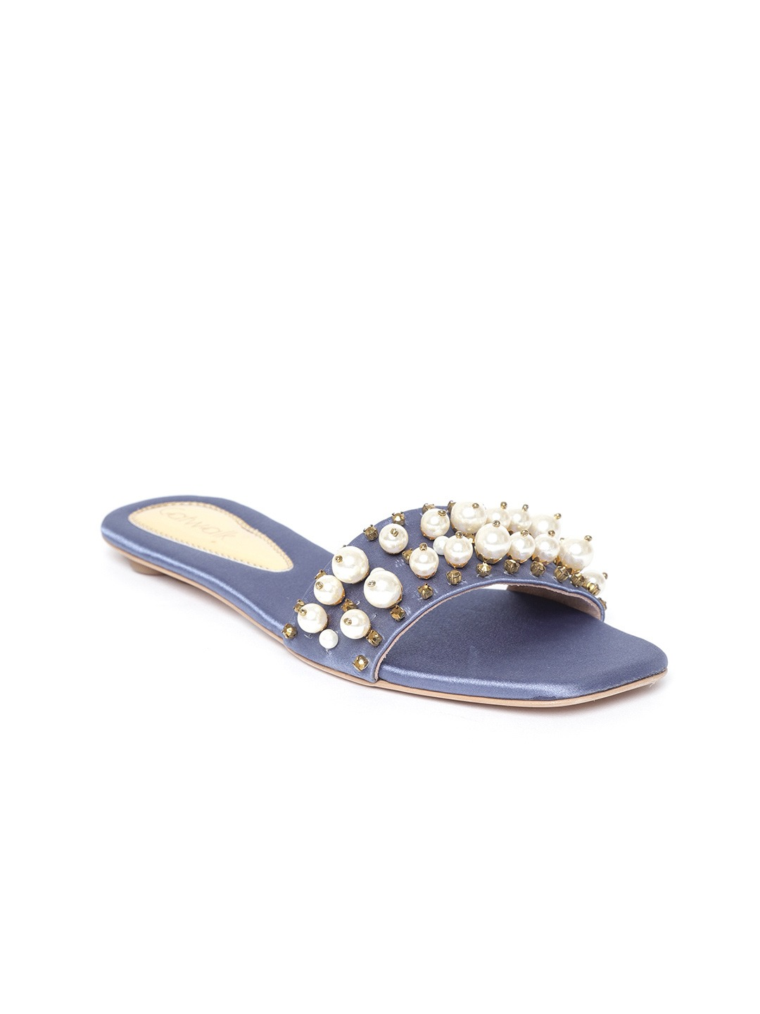 Blue Embellished Open Toe Flats
