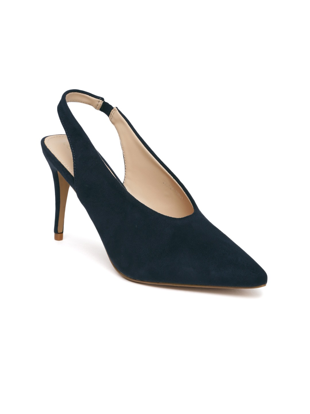 Navy Blue Solid Suede Pumps