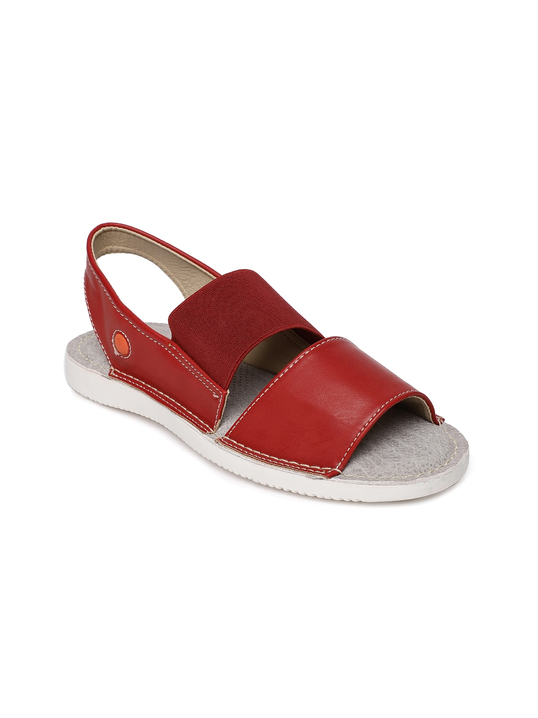Red Solid Open Toe Flats