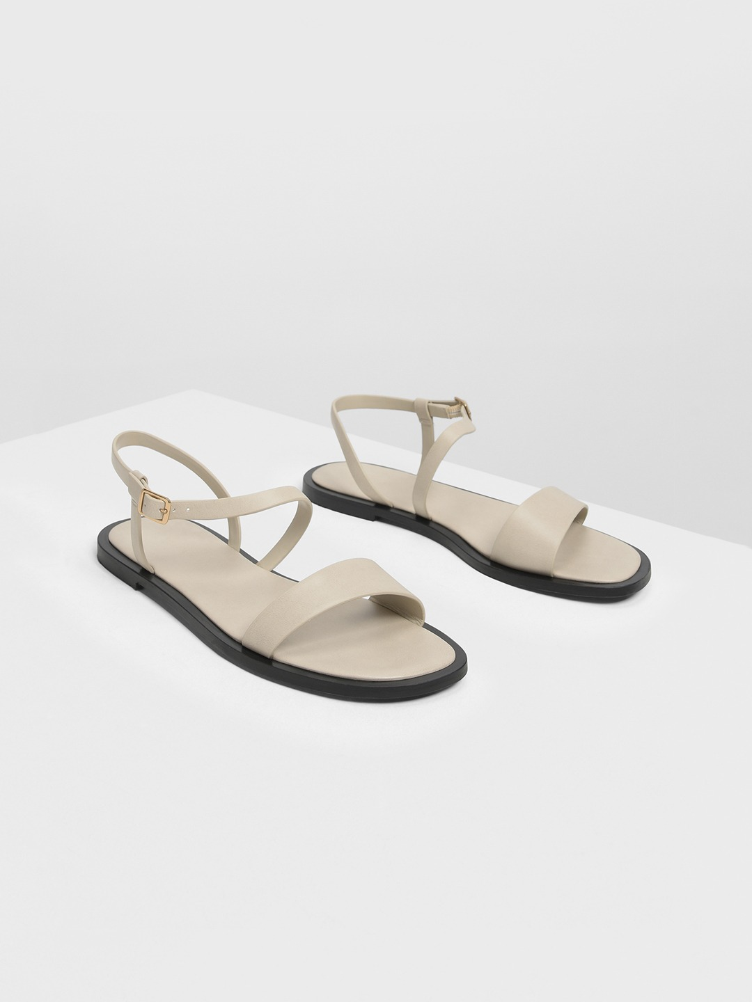 Taupe Solid Open Toe Flats