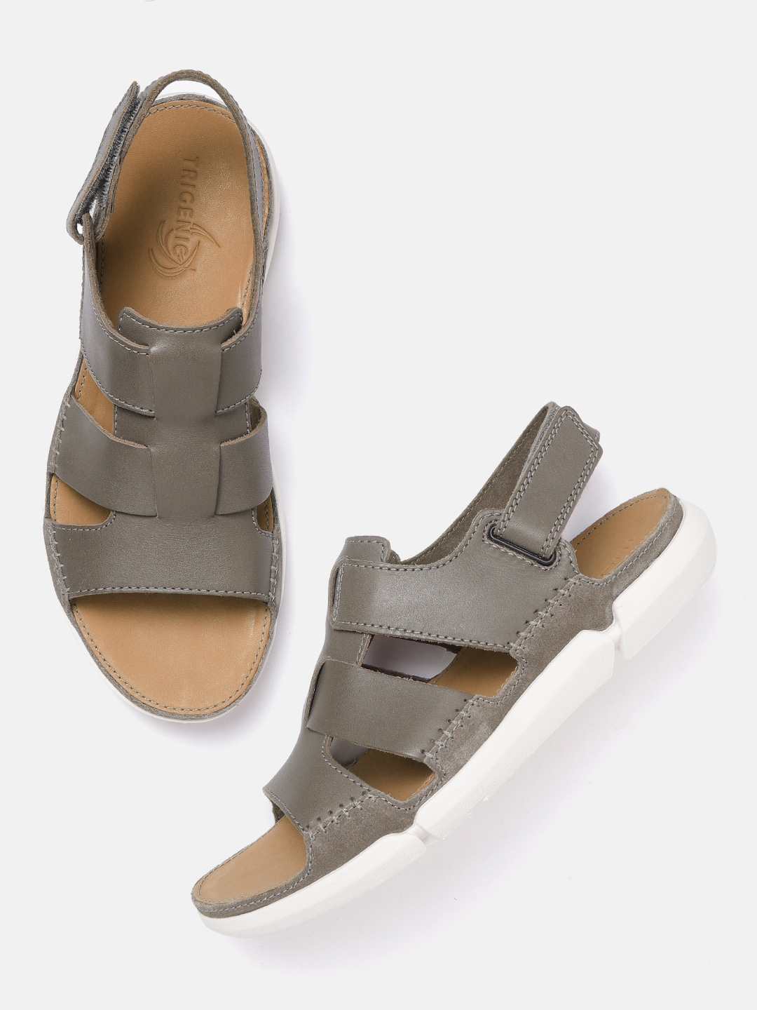 Olive Green Solid Leather Fisherman Sandals