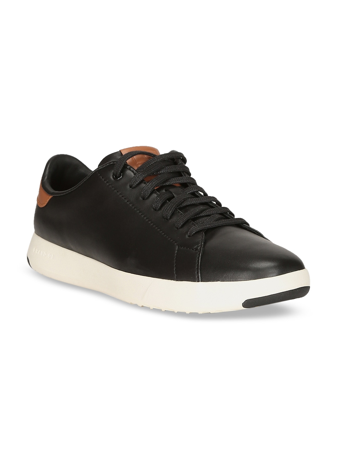 Black Leather GrandPro Tennis Sneakers