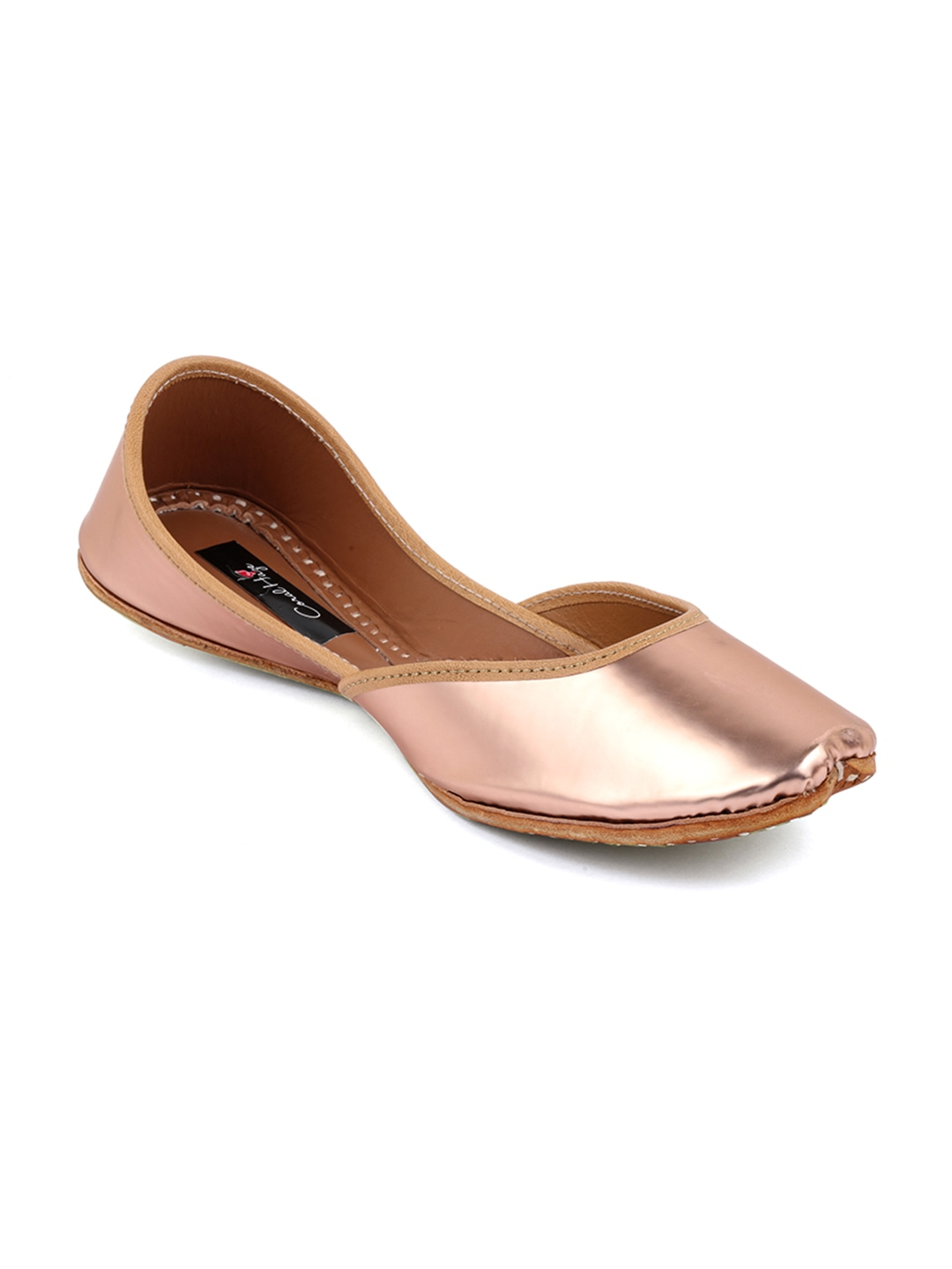 Gold-Toned Solid Leather Mojaris