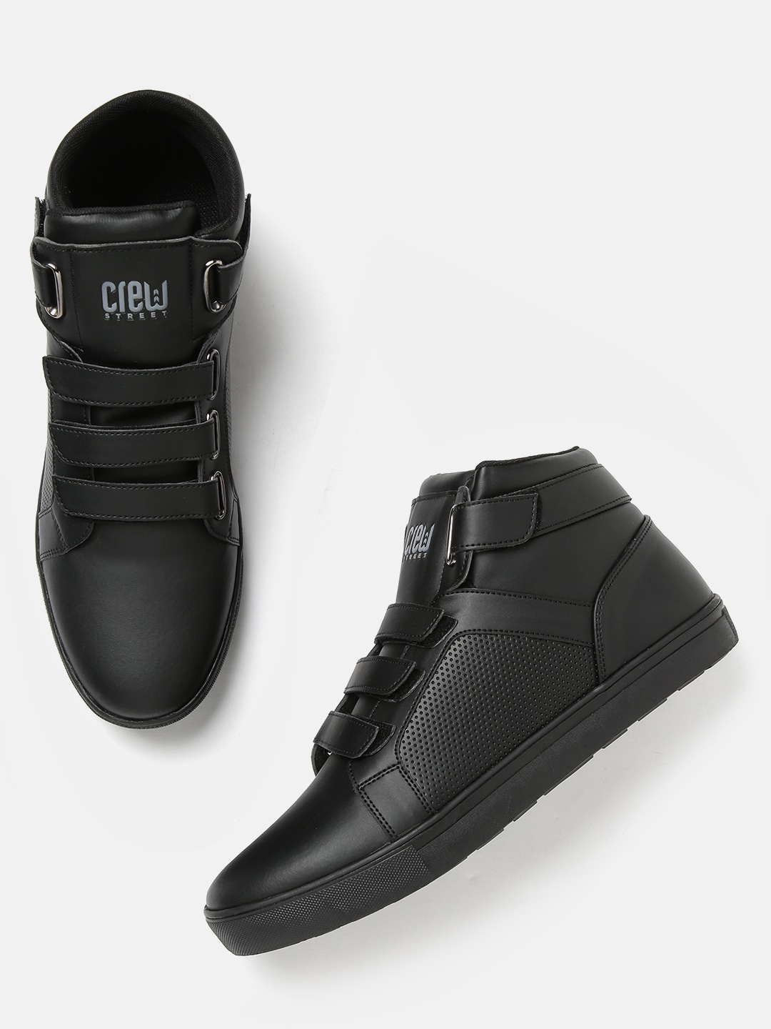 Black Perforated Mid-Top Sneakers