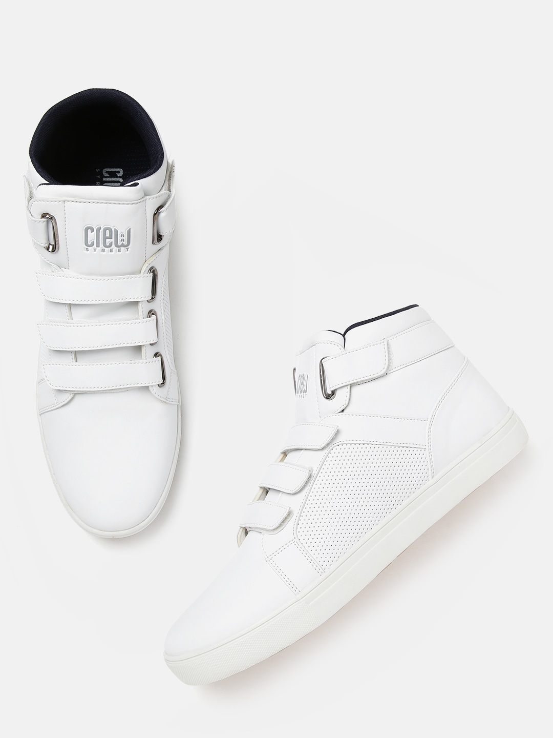 White Solid Perforated Mid-Top Sneakers