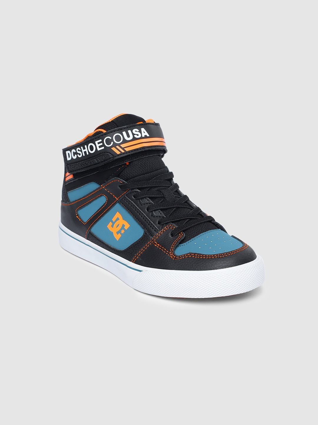 Black & Teal Blue Colourblocked Leather Mid-Top Sneakers