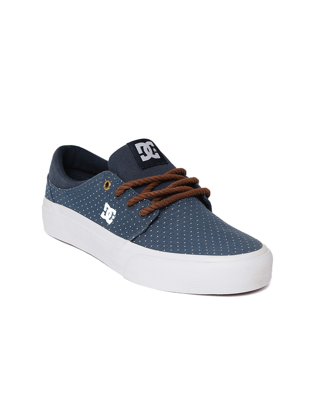 Navy Blue & Off-White Woven Design Sneakers
