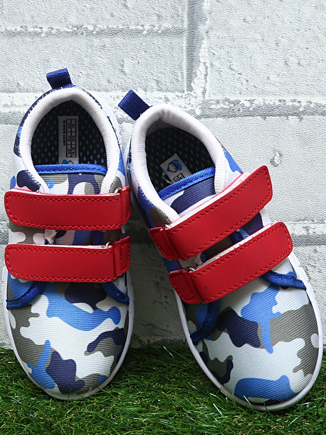 Blue & Grey Camouflage Slip-On Sneakers