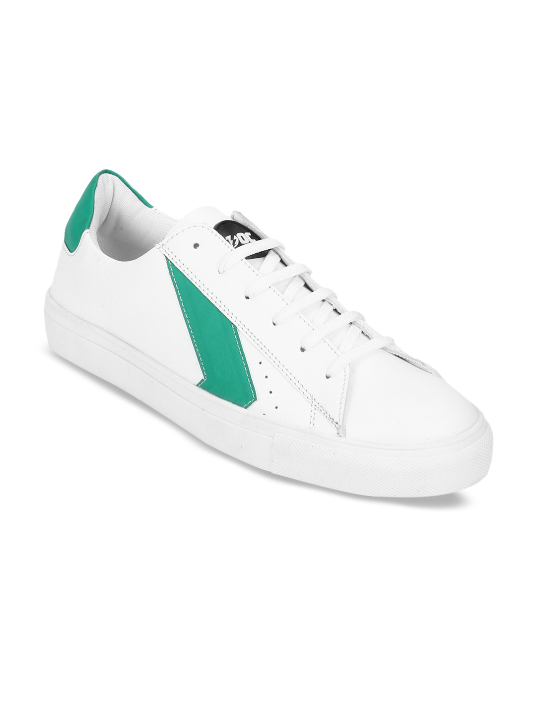 White & Green Melvin Colourblocked Sneakers