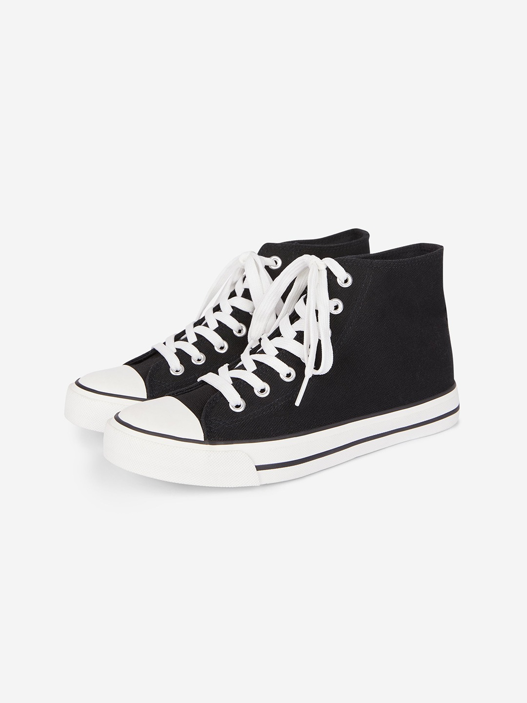 Black Solid Mid-Top Sneakers