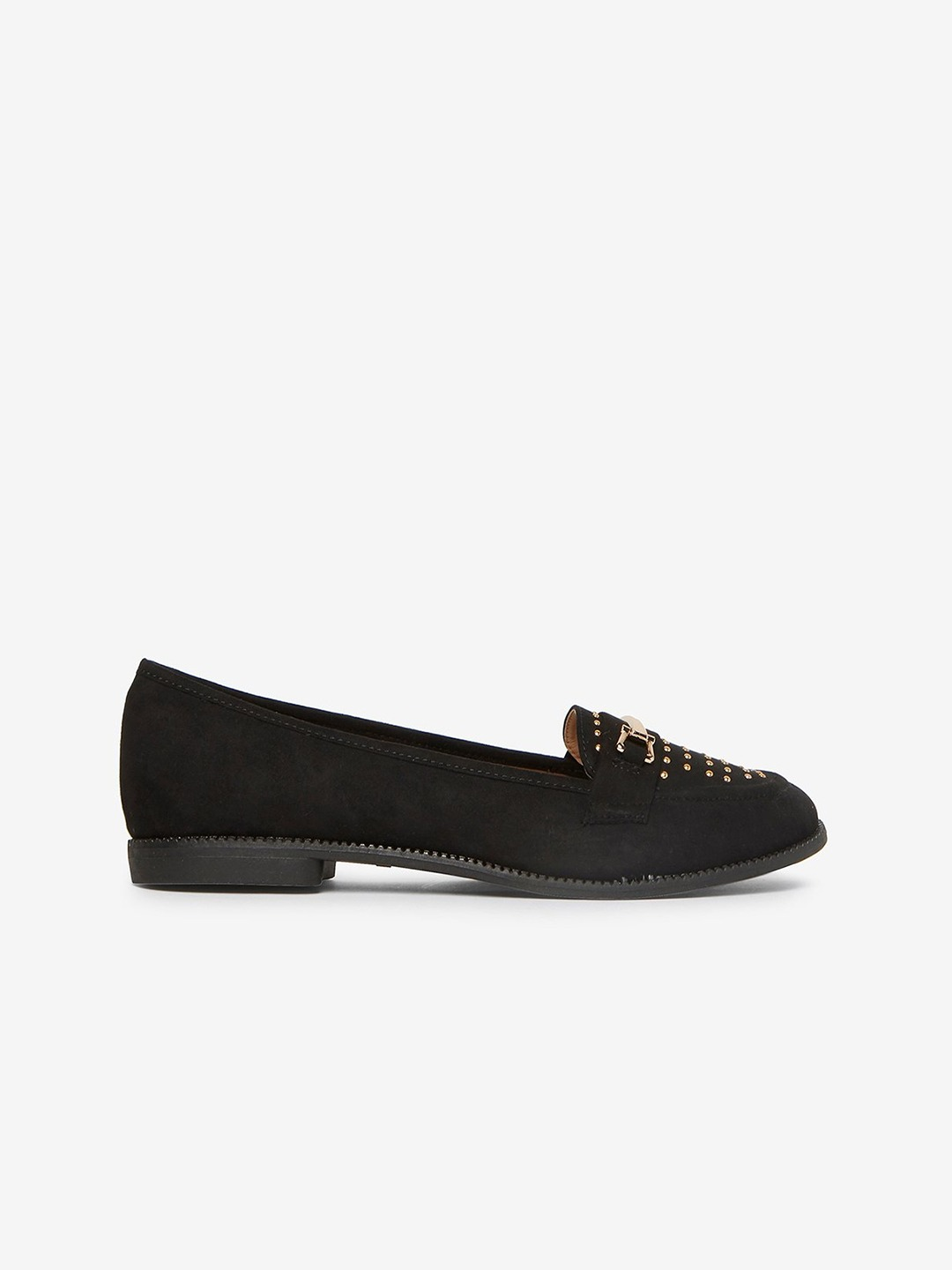 Black Wide Fit Loafers with Metallic Studs