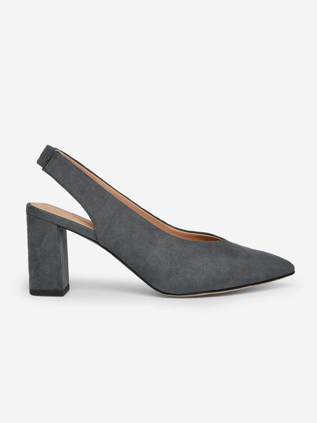 Charcoal Grey Solid Wide Fit Pumps