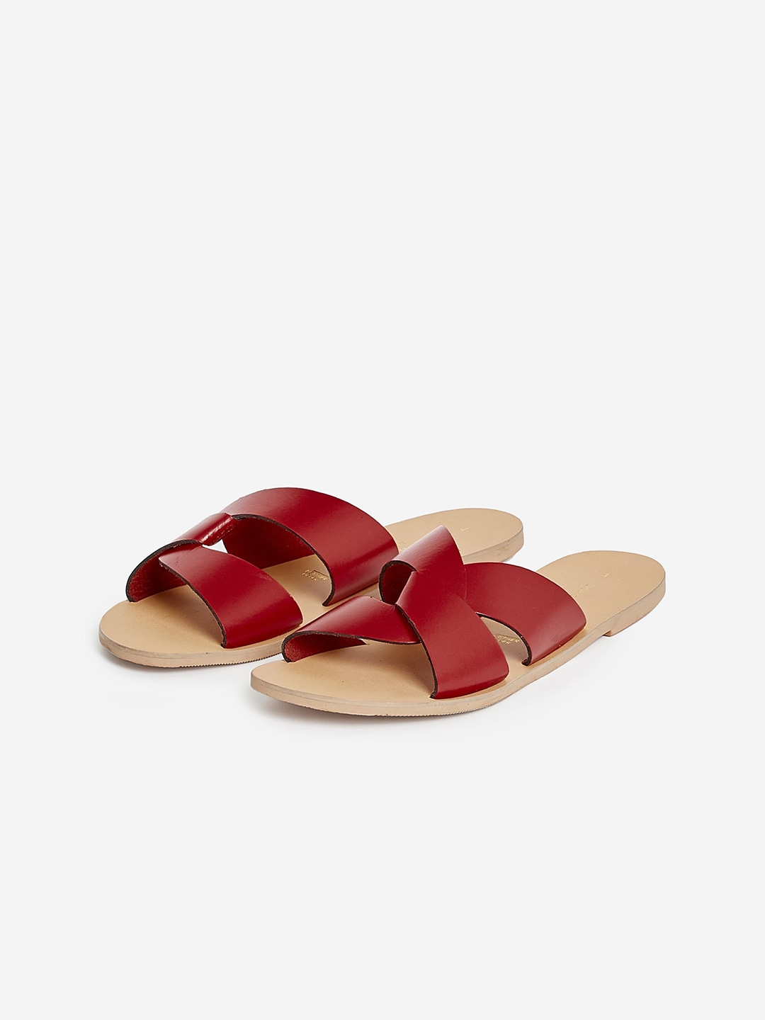 Maroon Solid Leather Open Toe Flats