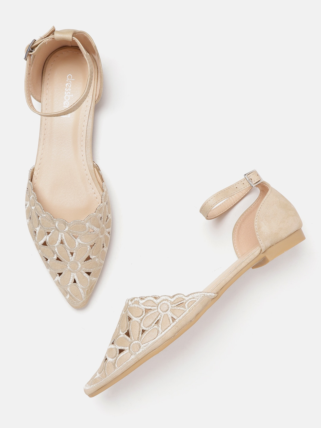Beige Floral Embroidered Flats