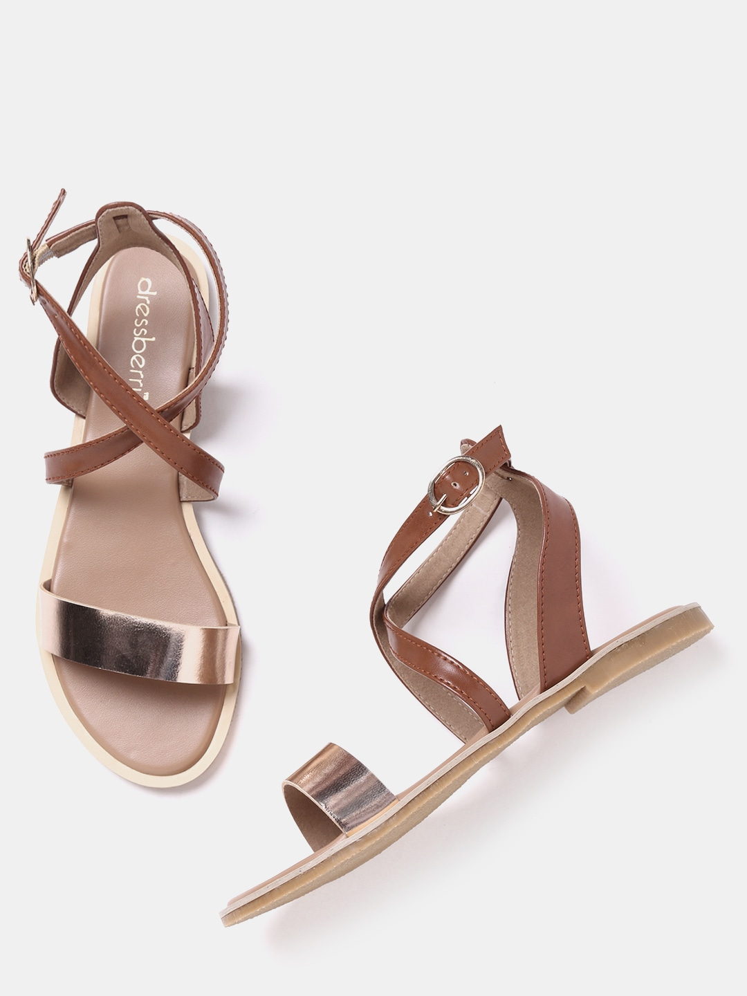Brown & Rose Gold-Toned Colourblocked Flats